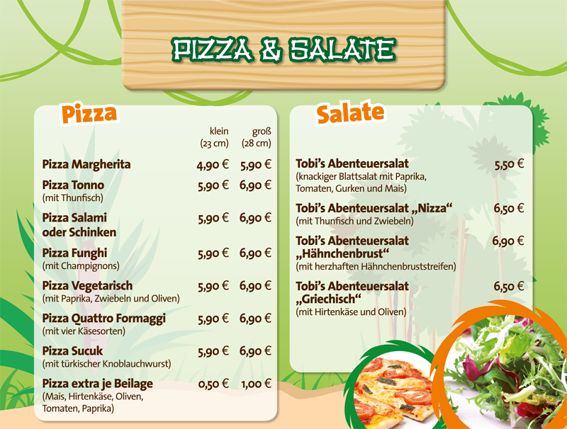 Speisekarte Pizza & Salate